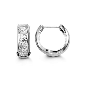 10K White Gold Diamond-Cut Huggie Hoop Earrings at Arman's Jewellers