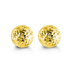 7mm 10K Yellow Gold Diamond-cut Ball Stud Earrings at Arman's Jewellers