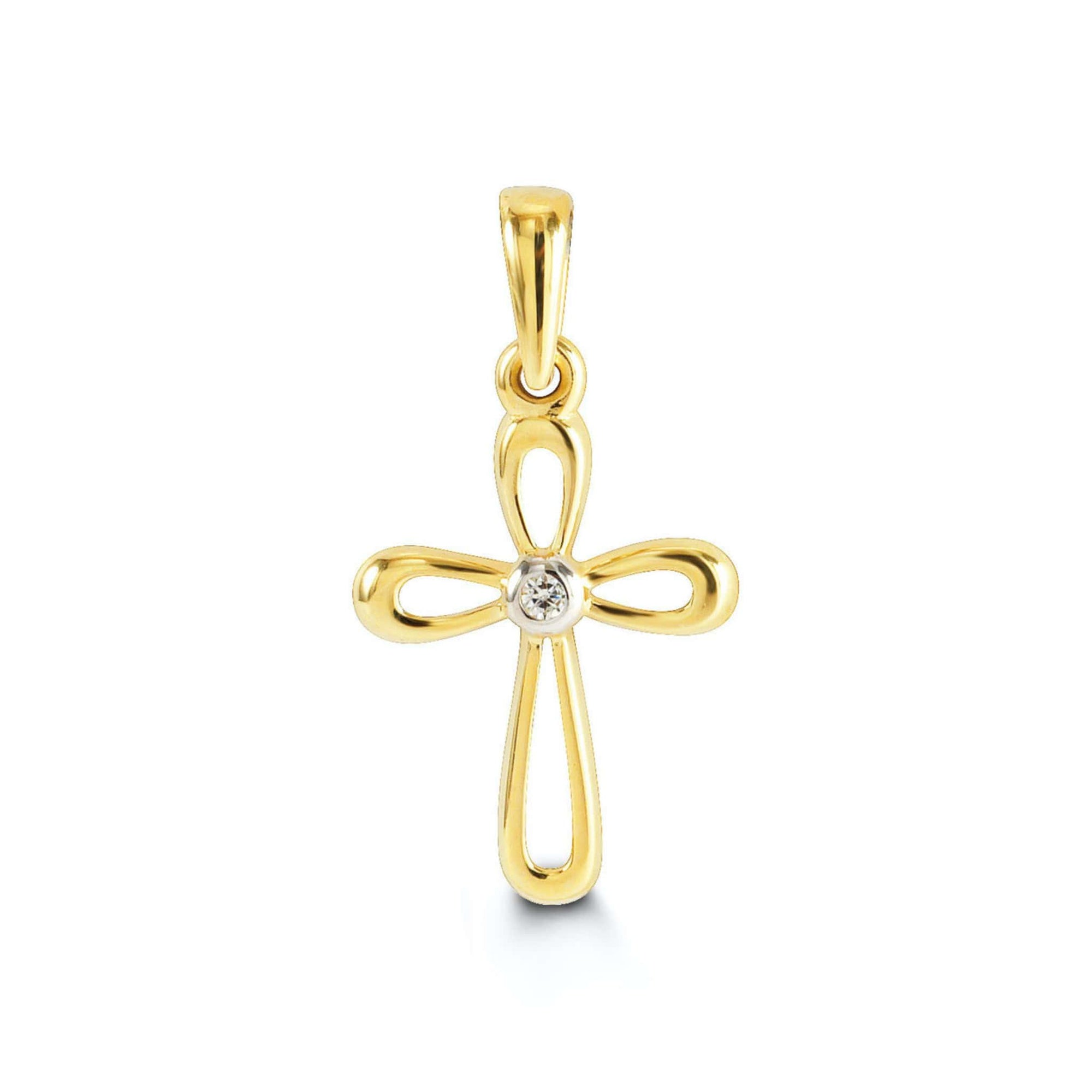 10K Yellow Gold CZ Cross Pendant at Arman's Jewellers