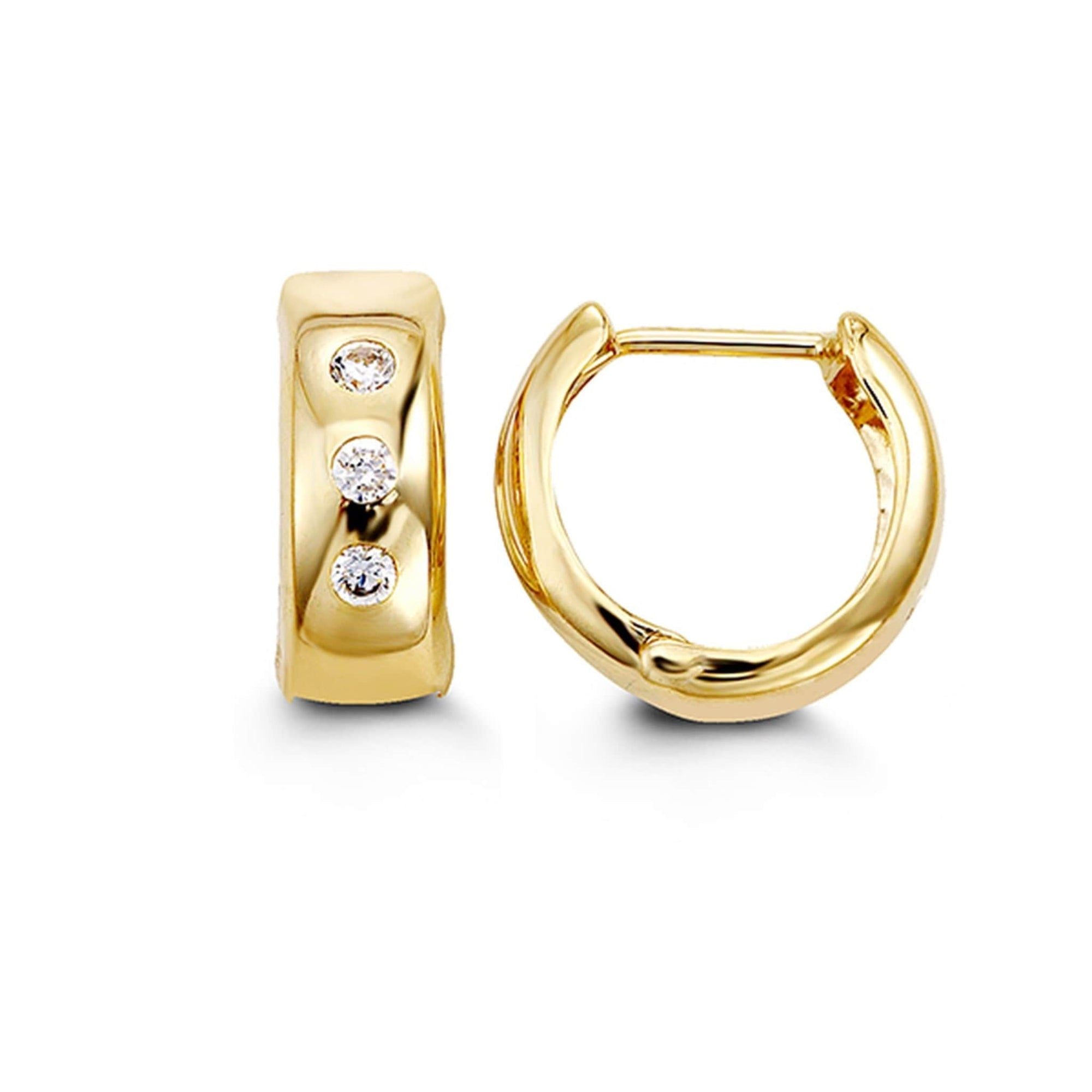 10K Yellow Gold Cubic Zirconia Huggie Hoop Earrings at Arman's Jewellers