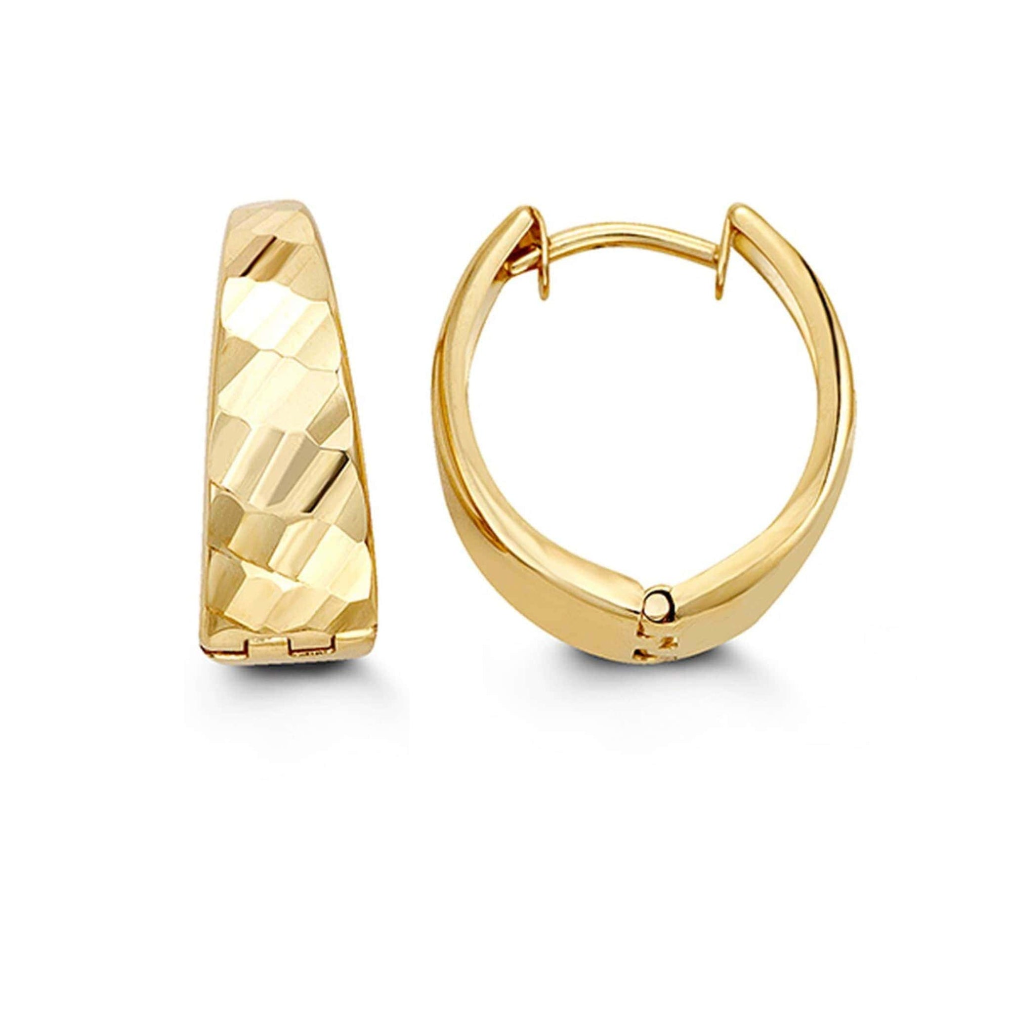 10K Diamond-Cut Huggie Hoop Earrings at Arman's Jewellers