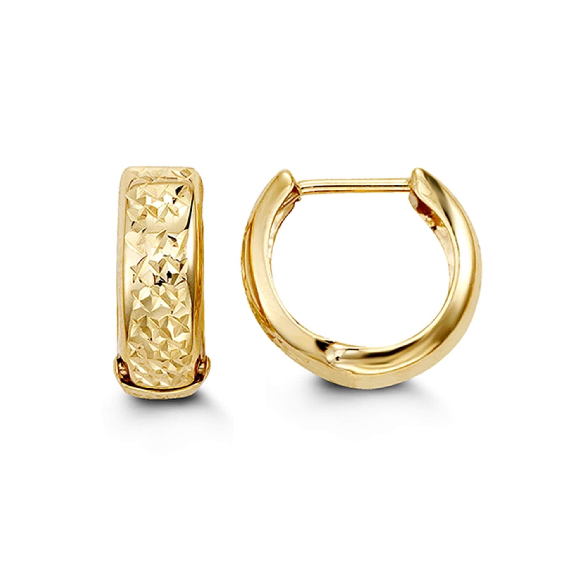 10K Yellow Gold Diamond-Cut Huggie Hoop Earrings at Arman's Jewellers