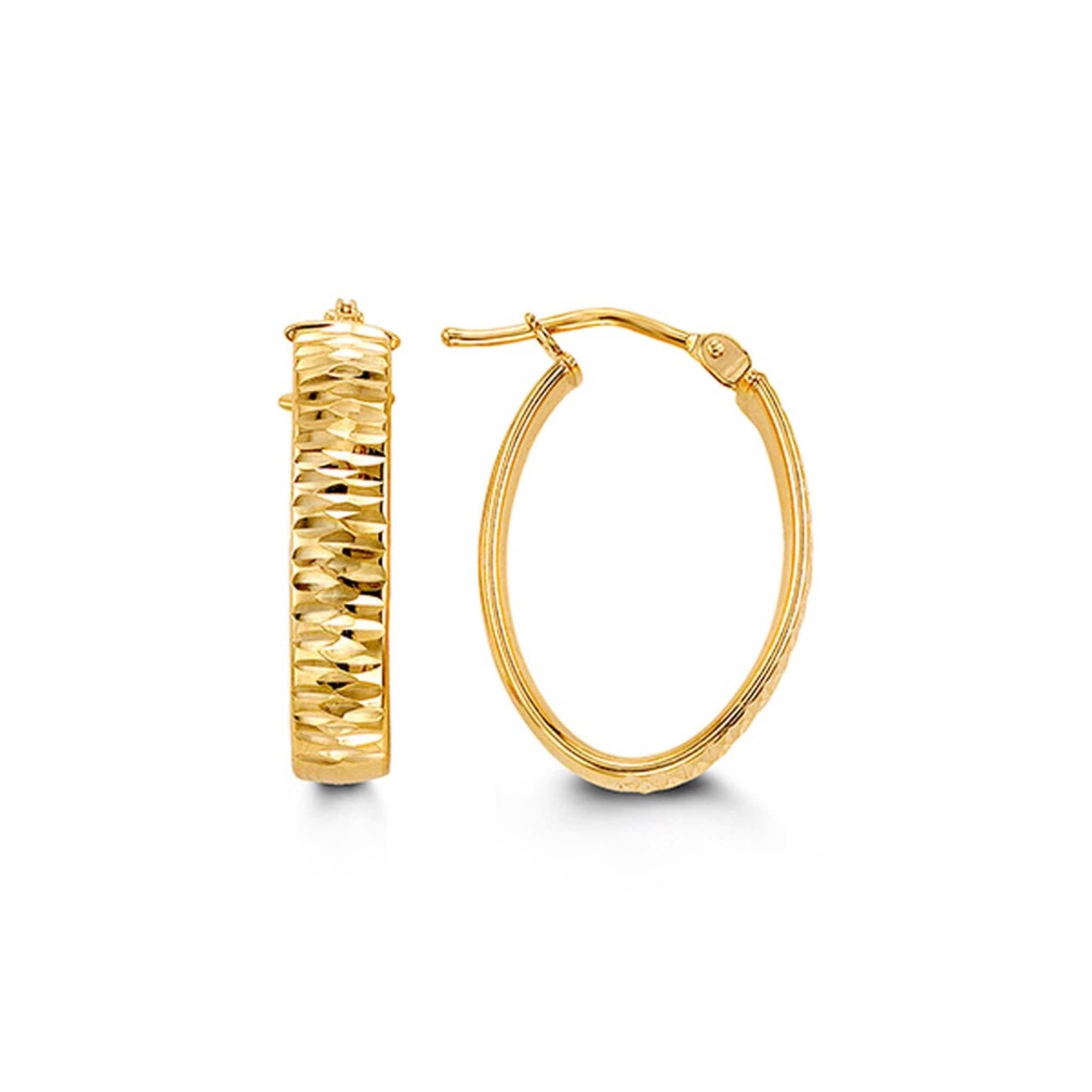 10K Yellow Gold Diamond-Cut Oval Hoop Earrings at Arman's Jewellers