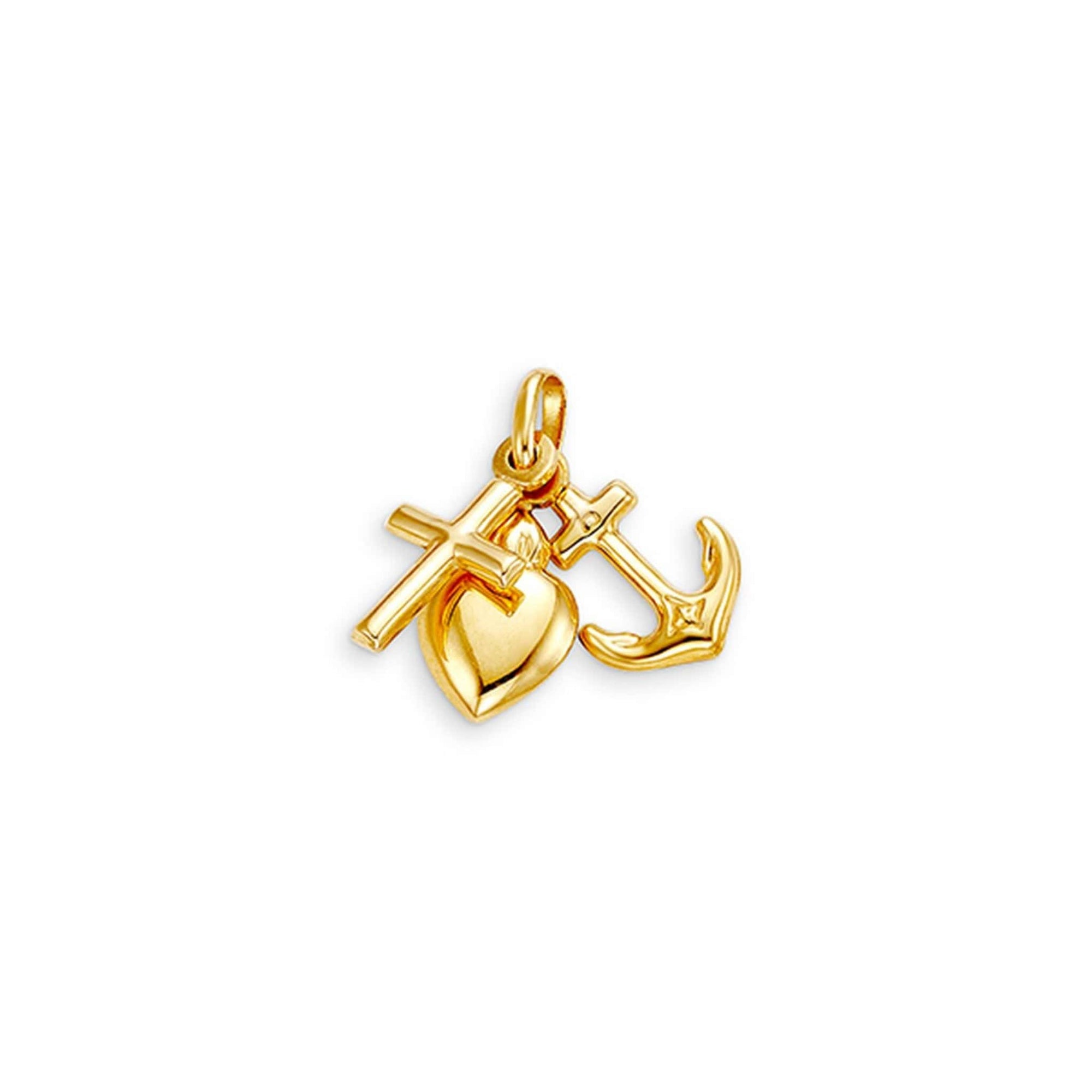 10K Yellow Gold Faith, Love and Charity Pendant at Arman's Jewellers