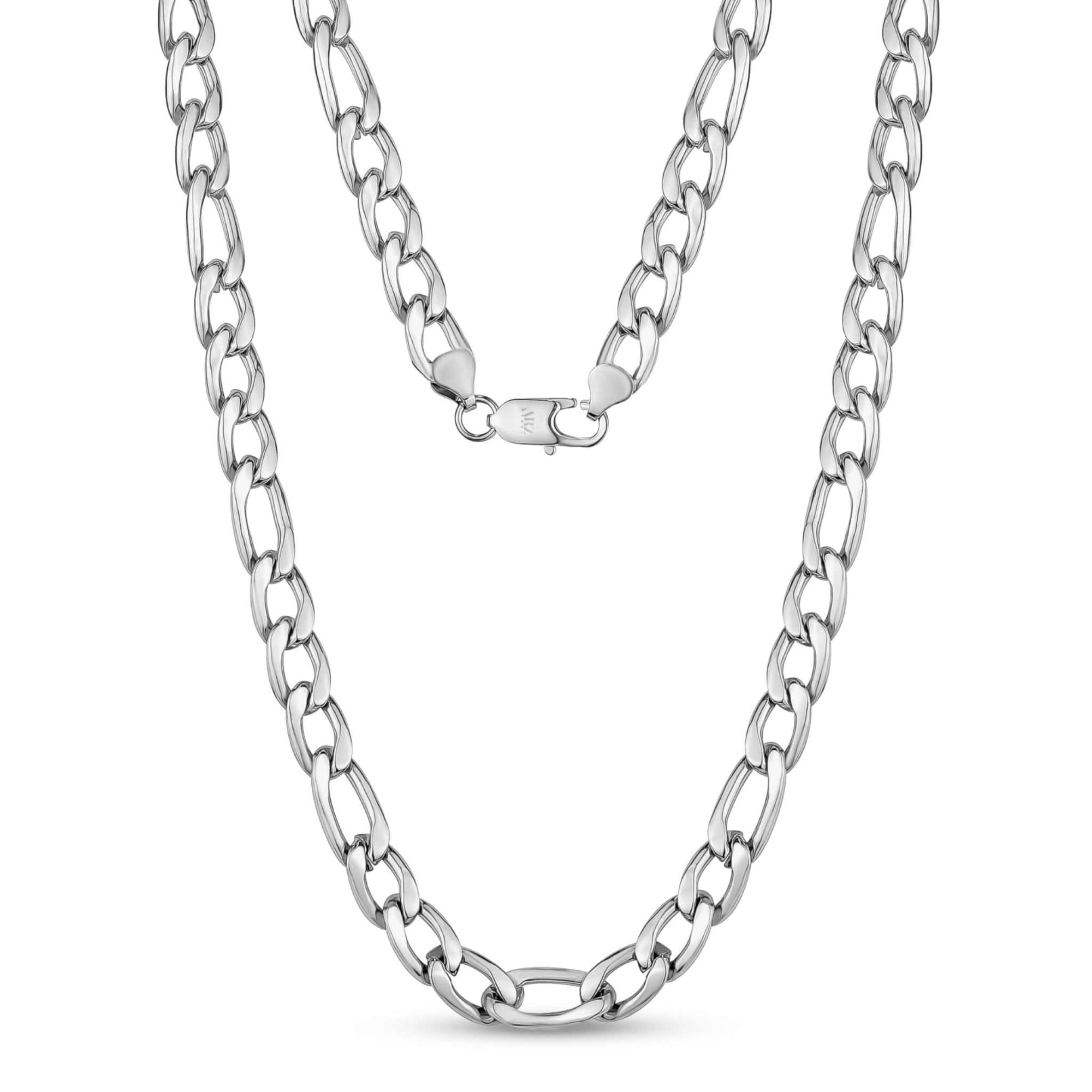 10mm Stainless Steel Figaro Link Chain Necklace at Arman's Jewellers