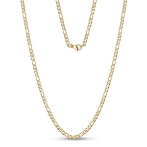 3.5mm Stainless Steel Gold Figaro Link Chain Necklace at Arman's Jewellers