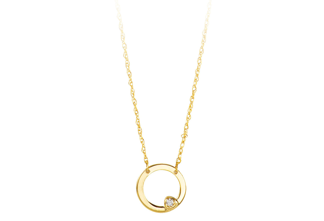 10k Yellow Gold Diamond Circle Necklace at Arman's Jewellers Kitchener-Waterloo