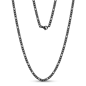 3.5mm Stainless Steel Black Figaro Link Chain Necklace at Arman's Jewellers