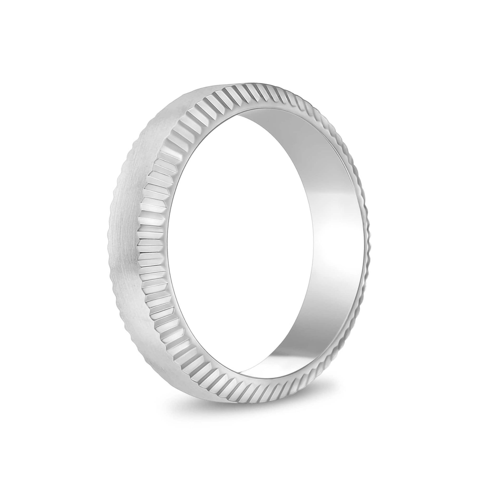 6mm Beveled Edge Flat Steel Band Ring at Arman's Jewellers