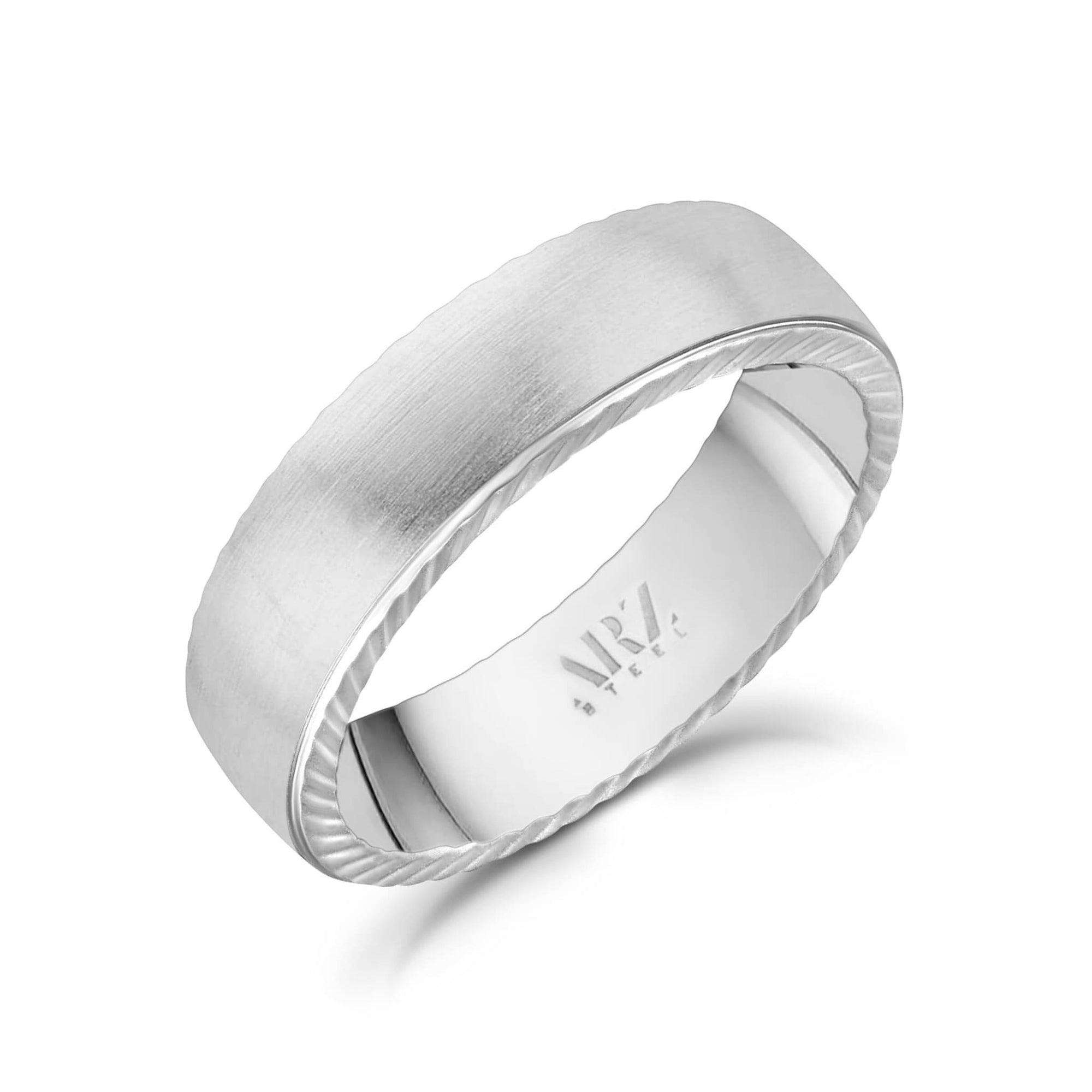 6mm Matte Flat Steel Band Ring at Arman's Jewellers