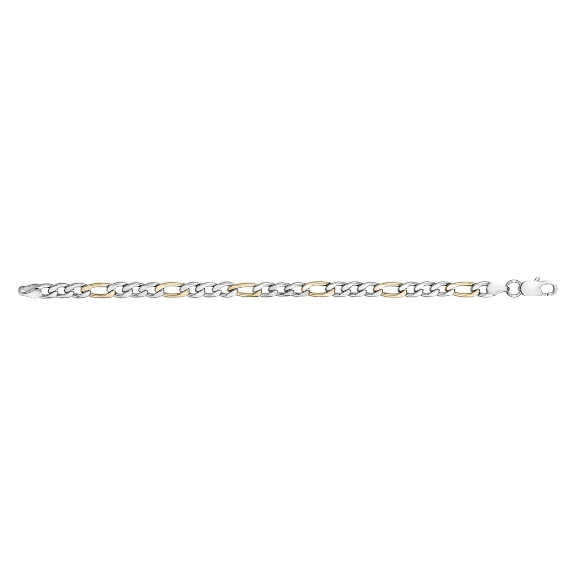 7mm Two-Tone Steel Figaro Link Bracelet at Arman's Jewellers