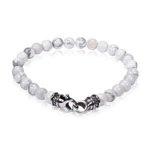 7mm White Howlite Bead Bracelet at Arman's Jewellers