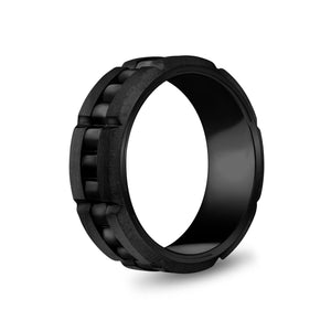 8mm Black Steel Spinner Band Ring at Arman's Jewellers
