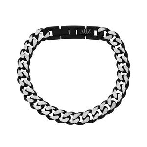8mm Black & Steel Cuban Link Bracelet at Arman's Jewellers