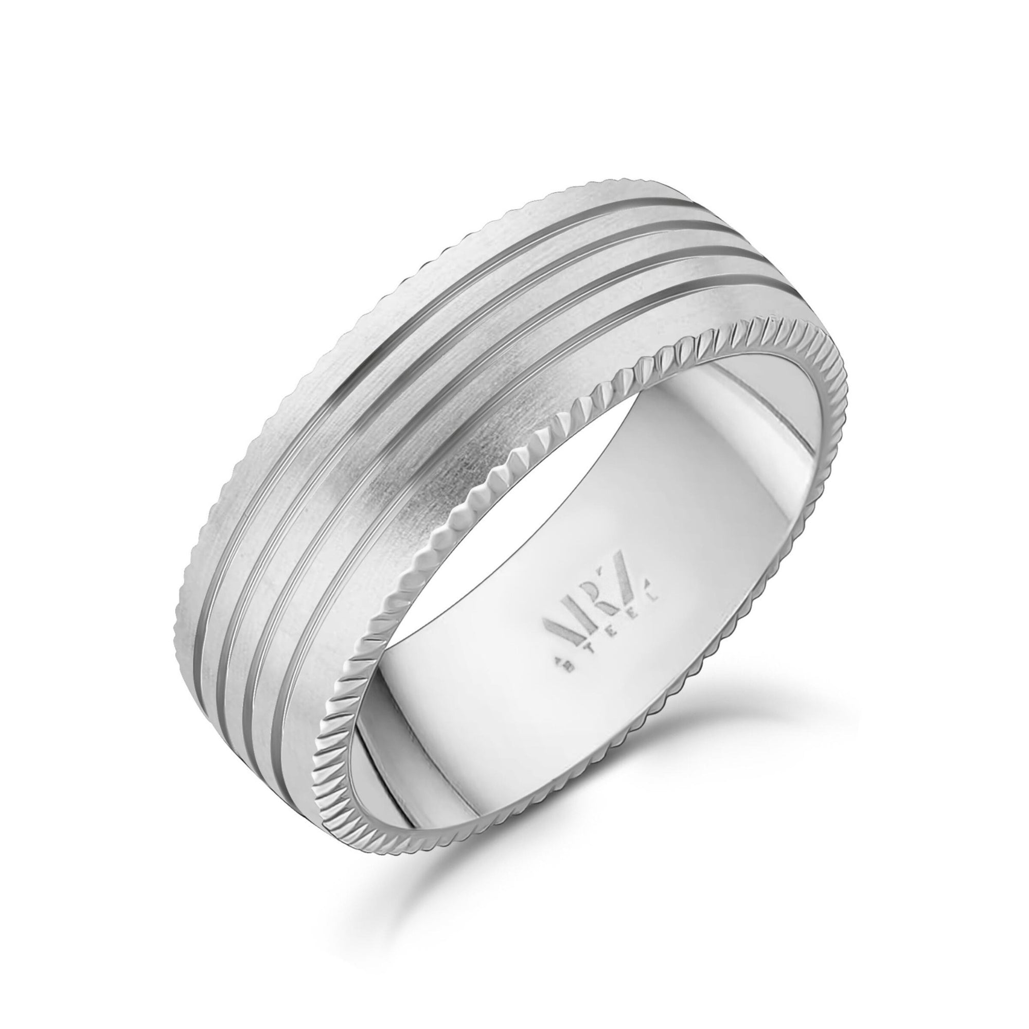 8mm Four Lined Matte Steel Band Ring at Arman's Jewellers