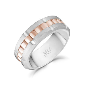 8mm Rose Gold Steel Spinner Band Ring at Arman's Jewellers