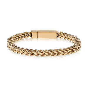 Men's Gold Steel Franco Link Bracelet at Arman's Jewellers Kitchener