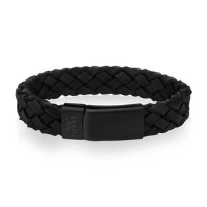 Men's Black on Black Braided Italian Leather Bracelet at Arman's Jewellers Kitchener