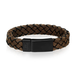 Dark Brown Braided Italian Leather Black Clasp Bracelet at Arman's Jewellers Kitchener