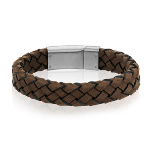 Men's Dark Brown Braided Italian Leather Steel Clasp Bracelet at Arman's Jewellers Kitchener