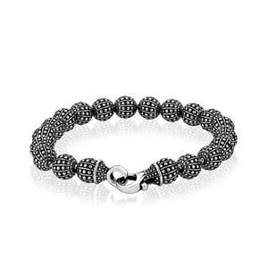 Men's 8mm Stainless Steel Detailed Bead Bracelet On Model at Arman's Jewellers Kitchener