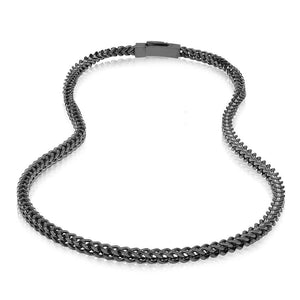 Men's 6mm Stainless Steel Black Franco Link Chain Necklace at Arman's Jewellers Kitchener