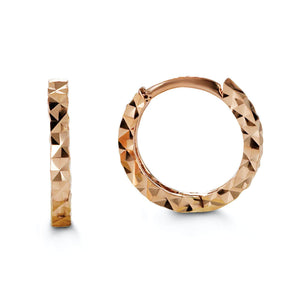 Bella Baby 10K Rose Gold Diamond Cut Huggie Hoop Earrings at Arman's Jewellers Kitchener