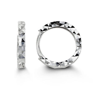 Bella Baby 10K White Gold Diamond Cut Huggie Hoop Earrings at Arman's Jewellers Kitchener
