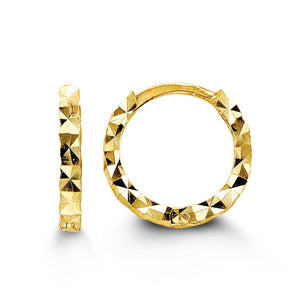 Bella Baby 10K Yellow Gold Diamond Cut Huggie Hoop Earrings at Arman's Jewellers Kitchener
