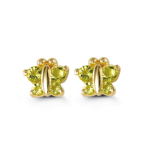 Bella Baby 14K Gold Green Butterfly Stud Earrings at Arman's Jewellers Kitchener
