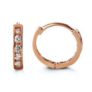 Bella Baby 14K Rose Gold CZ Huggie Earrings at Arman's Jewellers Kitchener