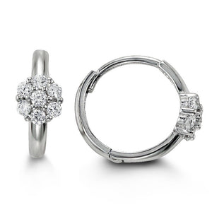 Bella Baby 14K White Gold CZ Flower Huggies Earrings at Armans Jewellers Kitchener