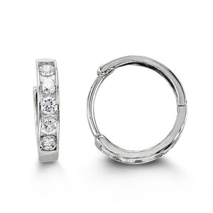 Bella Baby 14K White Gold CZ Huggie Earrings at Arman's Jewellers Kitchener