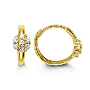 Bella Baby 14K Yellow Gold CZ Flower Huggies Earrings at Armans Jewellers Kitchener