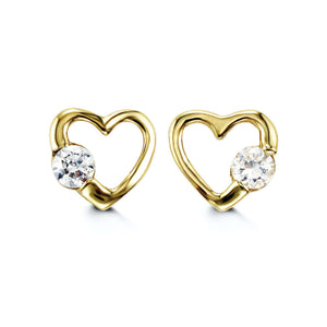 Bella Baby 14K Yellow Gold CZ Heart Stud Earrings at Arman,s Jewllers Kitchener