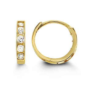 Bella Baby 14K Yellow Gold CZ Huggie Earrings at Arman's Jewellers Kitchener