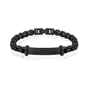 Black Steel Box Link ID Bracelet at Arman's Jewellers