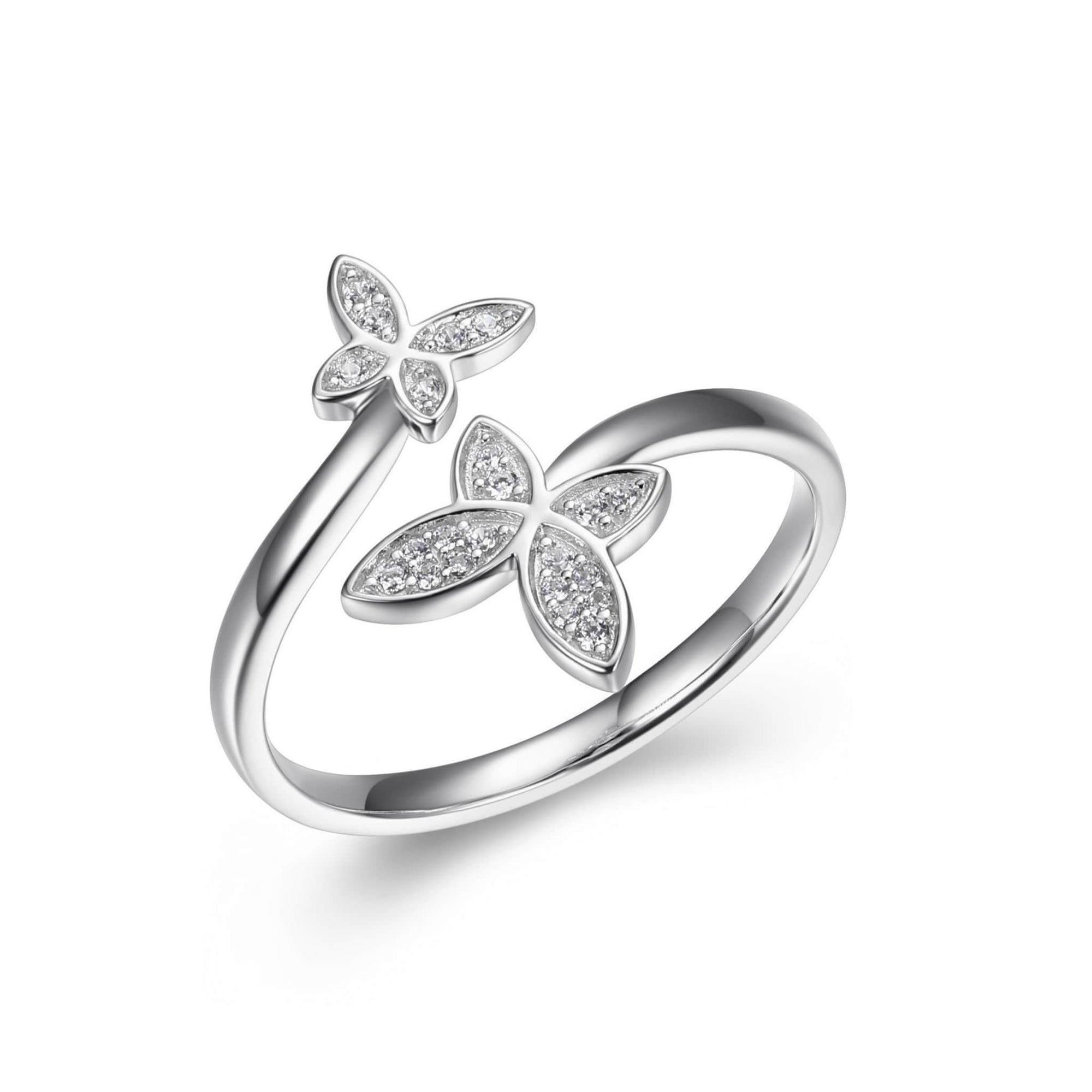 CZ Butterfly Bypass Silver Ring at Arman's Jewellers