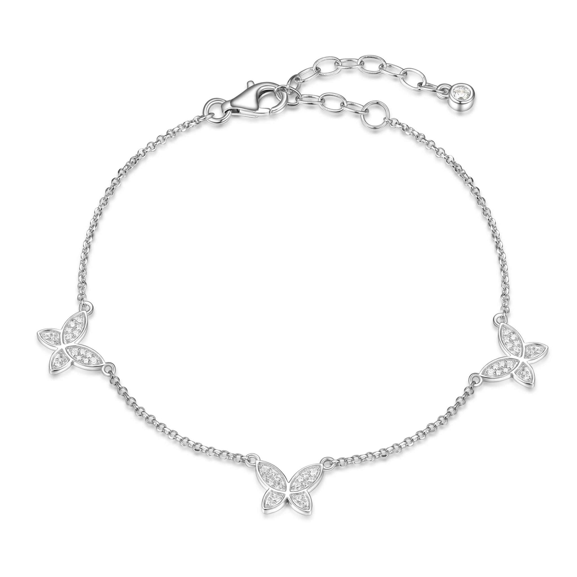 CZ Butterfly Silver Anklet