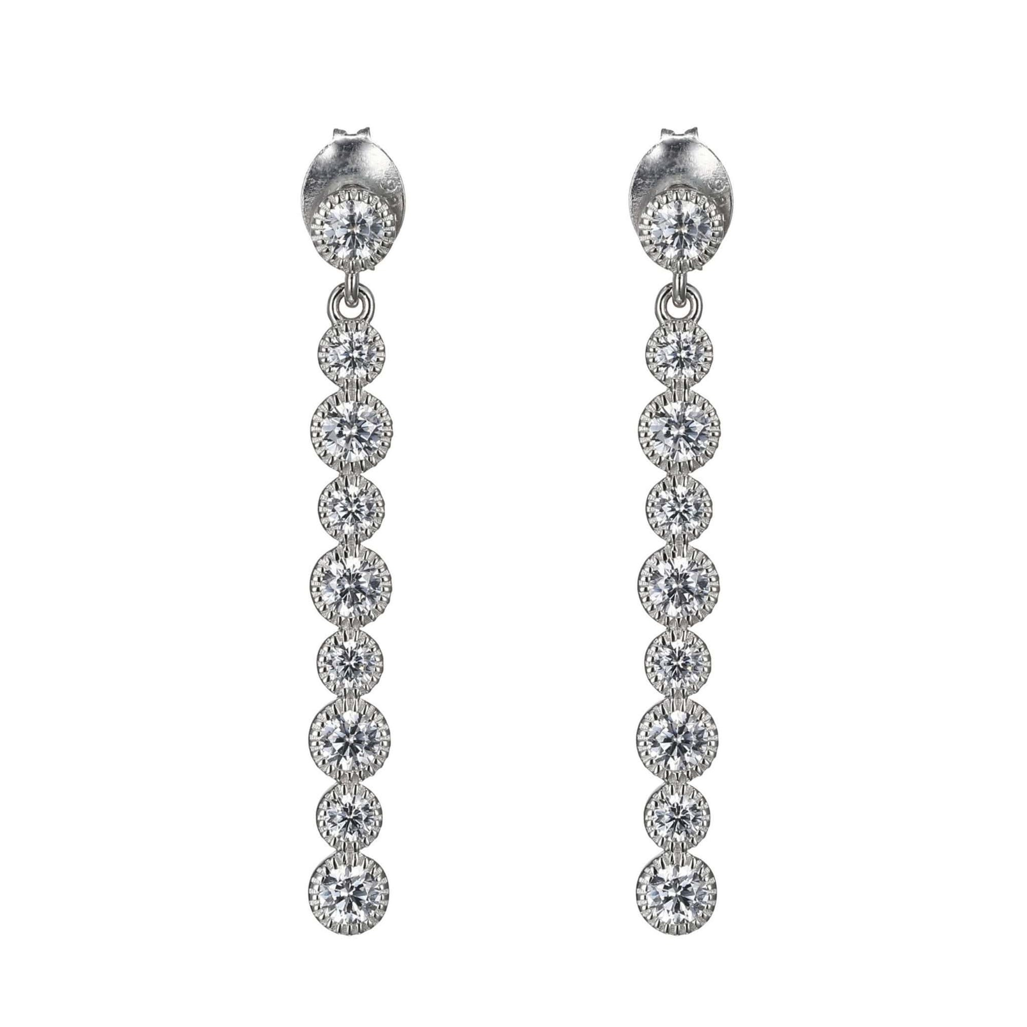 CZ Vertical Bar Silver Earrings at Arman's Jewellers