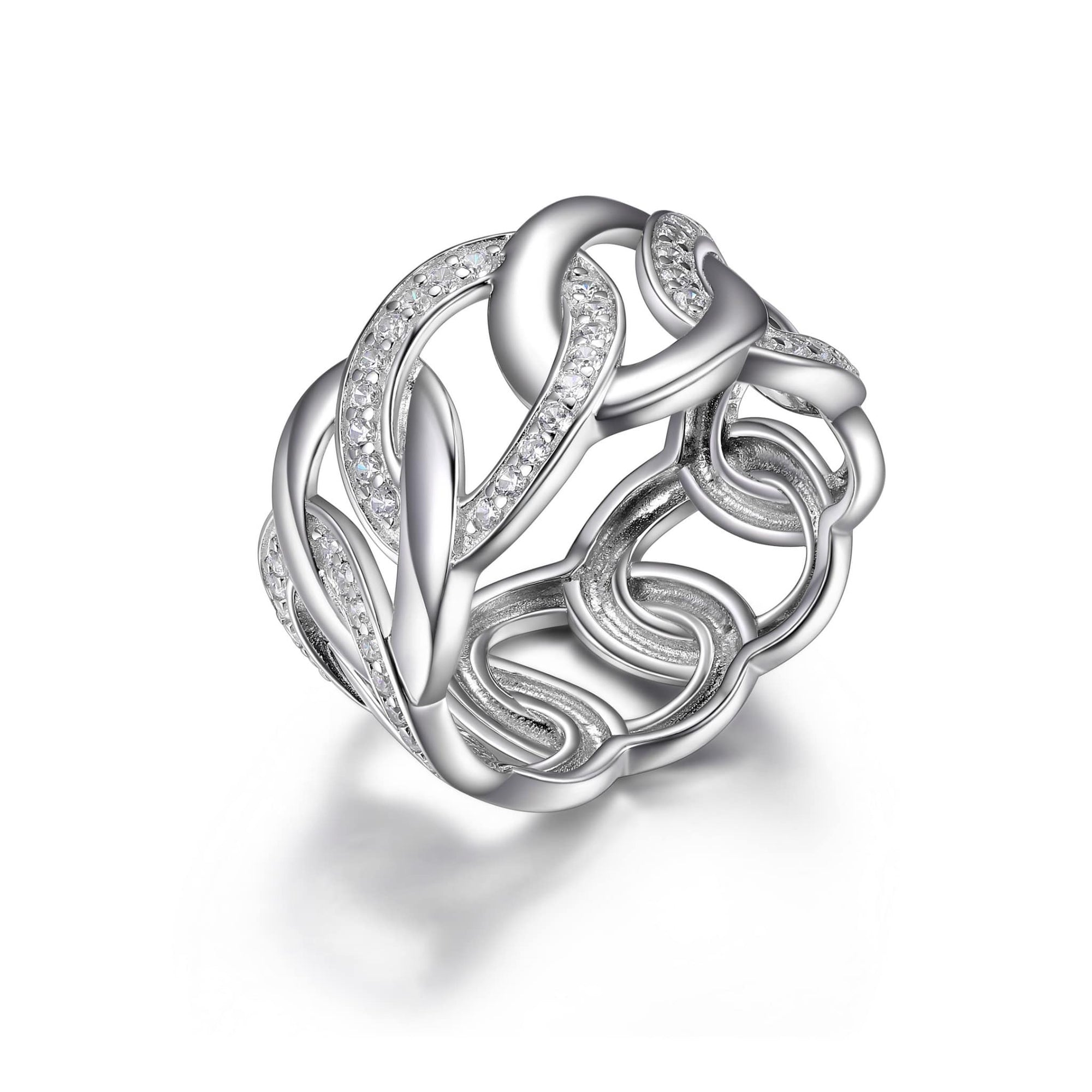 CZ Wide Link Silver Ring at Arman's Jewellers