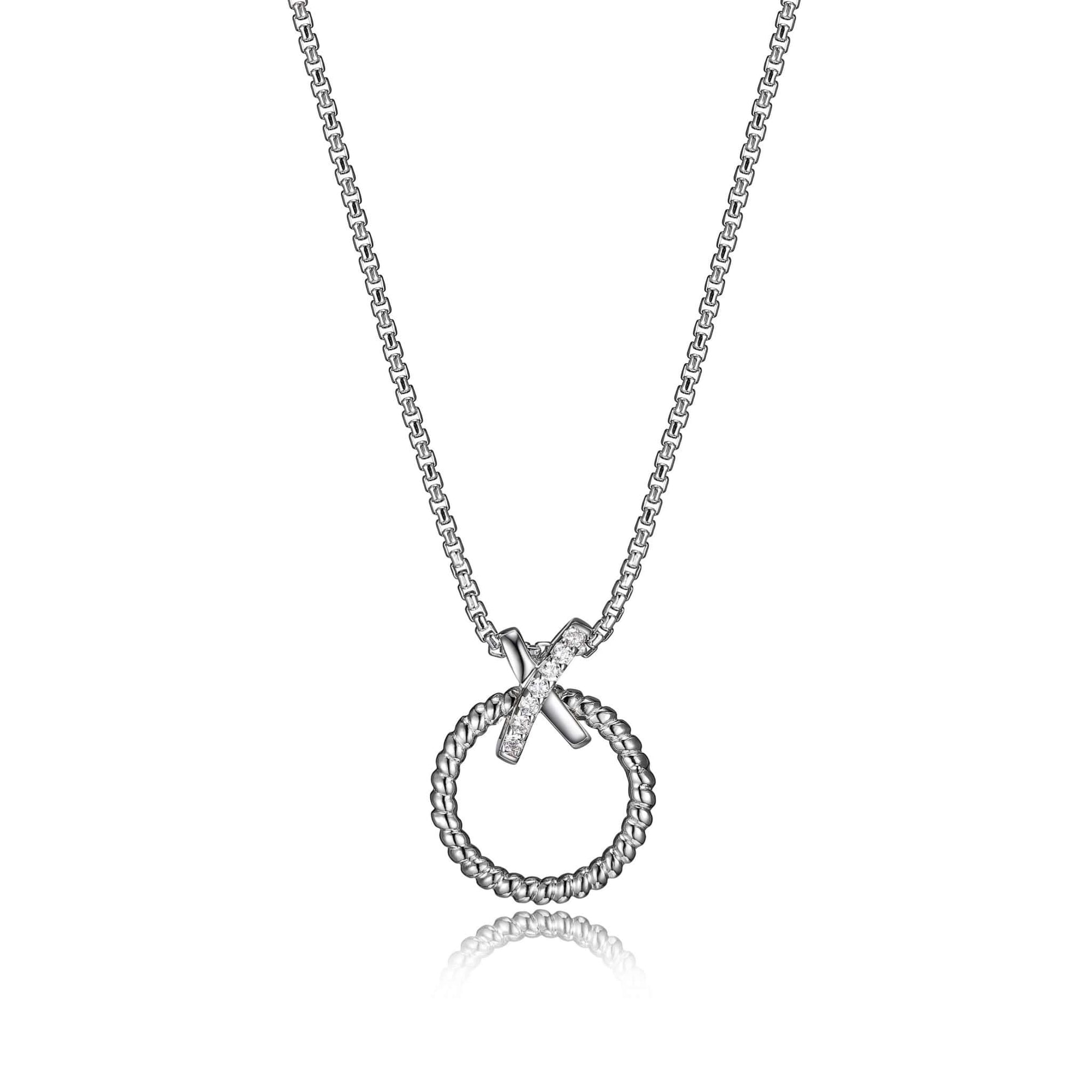 "Charles Garnier Rhodium Plated ""Linq"" Silver Necklace at Arman's Jewellers"