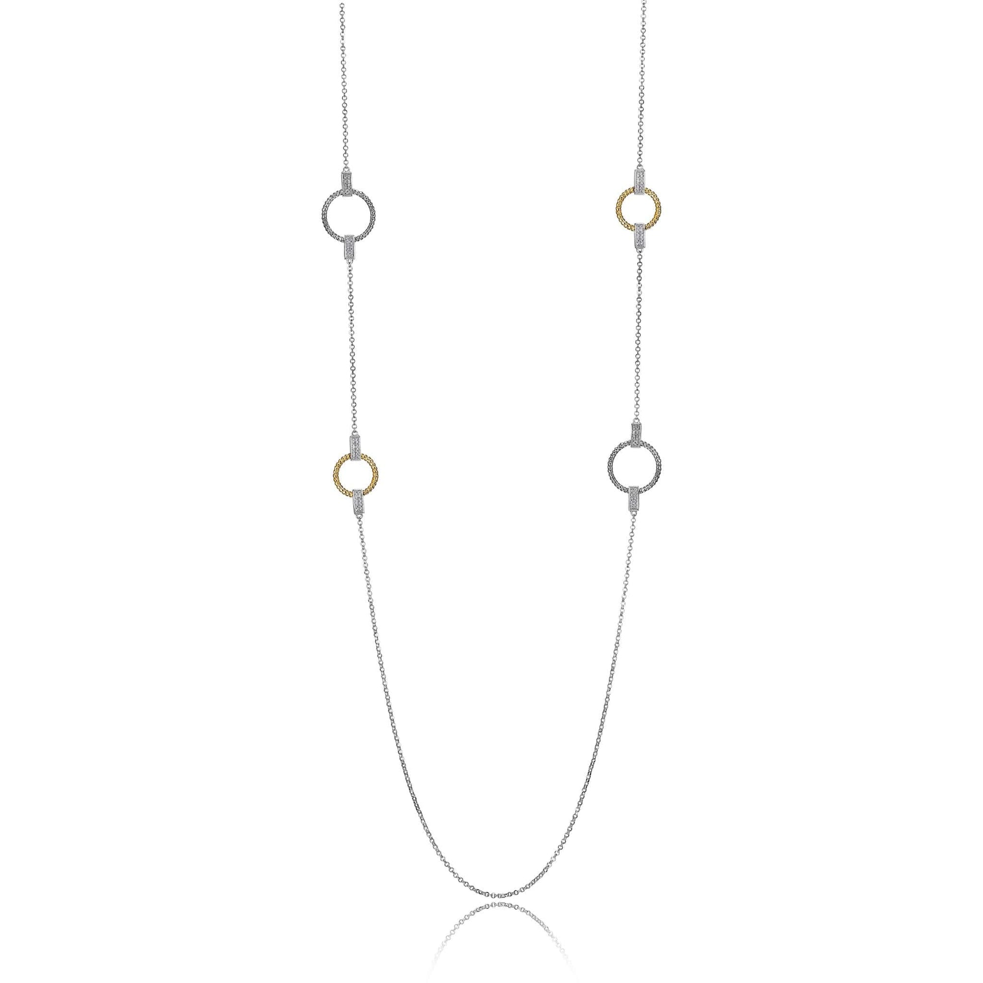 "Charles Garnier ""Linq"" Two-Tone Silver Station Necklace at Arman's Jewellers"