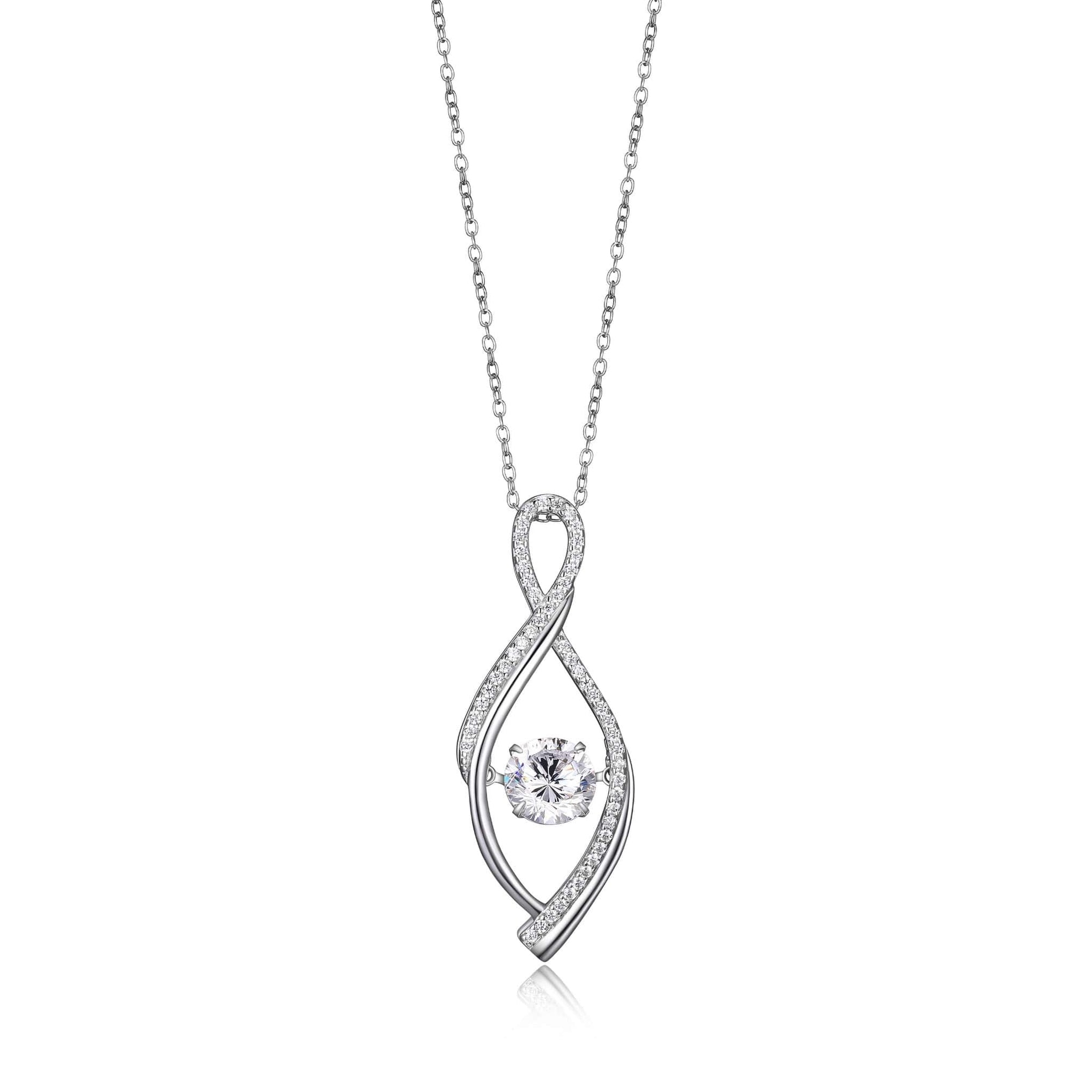 Dancing CZ Woven Teardrop Silver Pendant at Arman's Jewellers