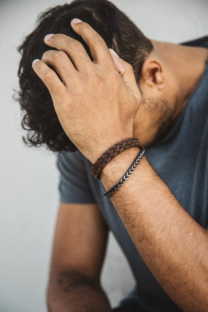 Men's Dark Brown Braided Italian Leather Black Clasp Bracelet at Arman's Jewellers Kitchener