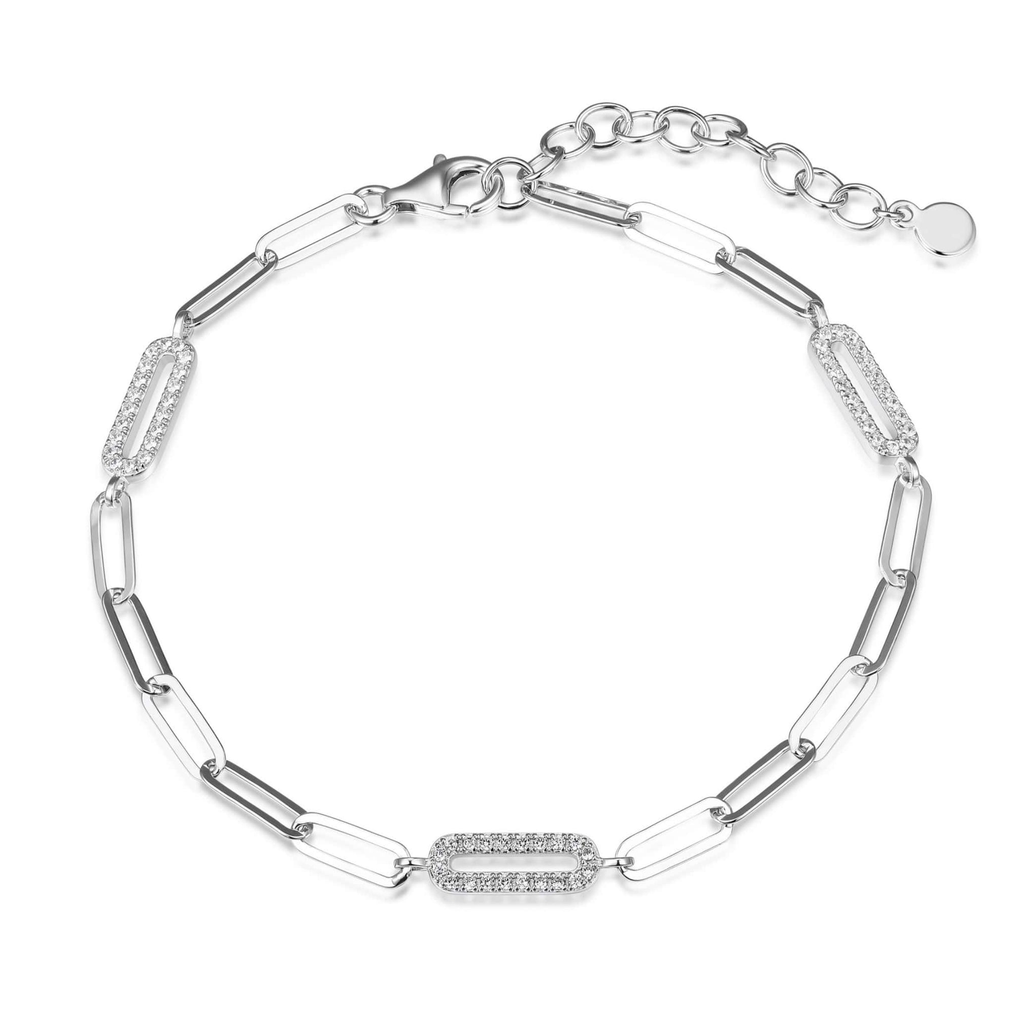 Diamondlite CZ Paperclip Link Silver Bracelet at Arman's Jewellers