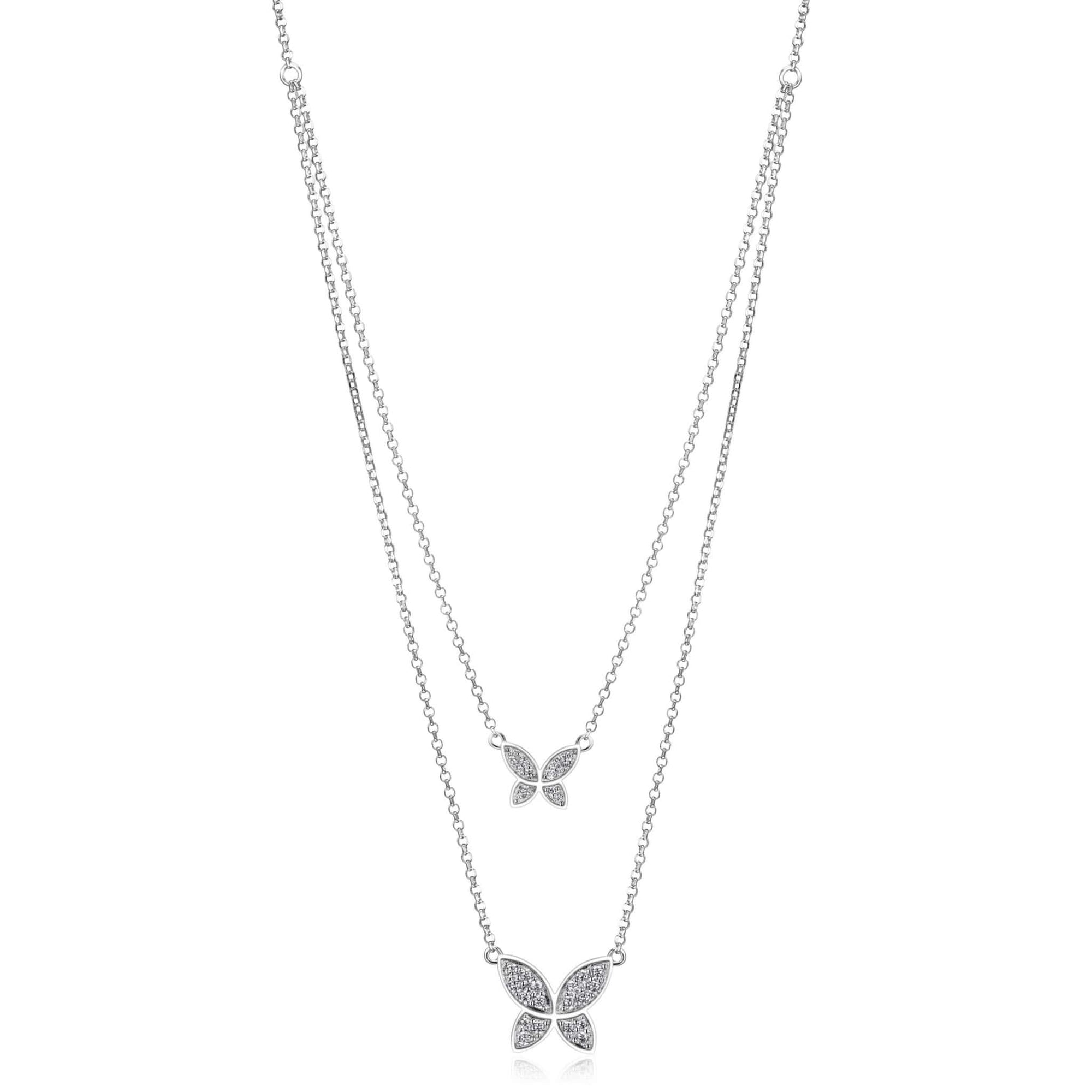 Double Layer CZ Butterfly Silver Necklace at Arman's Jewellers