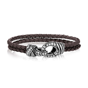 Double Row Brown Leather Clasp Bracelet at Arman's Jewellers