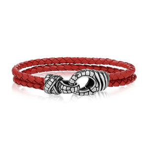 Double Row Red Leather Clasp Bracelet at Arman's Jewellers