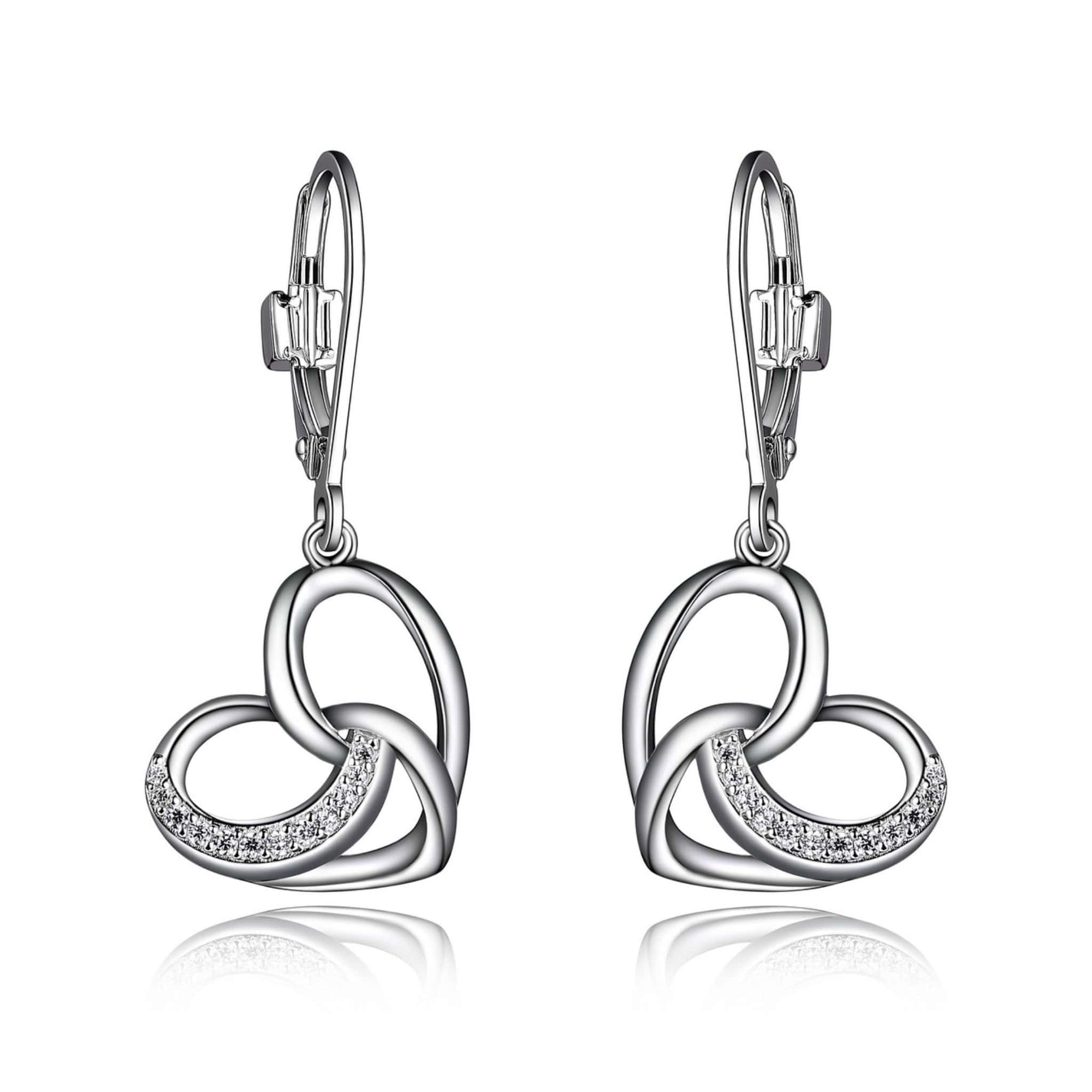 ELLE Amour CZ Filigree Heart Leverback Silver Earrings